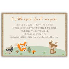Encourage guests to bring books to your boy baby shower with these adorable critters.