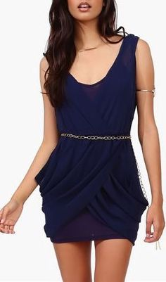 All Chained Up Dress in Navy
