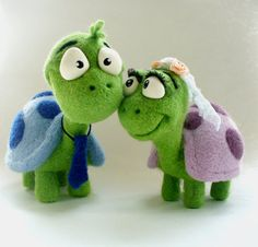 Needle Felted Toy Tortoise The Groom and Bride by TashaToys, $75.00