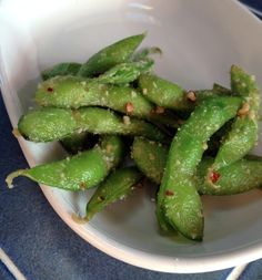 Garlic & Parmesan Keto Edamame Recipe with edamame, olive oil, red pepper flakes, minced garlic