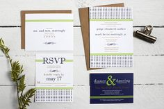 This custom wedding invitation suite is perfect for the modern bride who wants a touch of rustic in her otherwise classic wedding stationery!