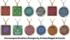 Horoscopes Necklace Designs by ArtisanAbigail at Zazzle; Abigail Davidson Art