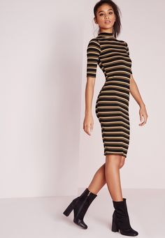 Cause a little chaos this season in this chic camel and black striped midi dress. With luxe long sleeves and totally on point high neck feature this dress will give you a standout silhouette. Team with oversized fedora and ankle boots for a...