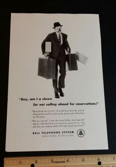 1950s Bell Telephone System Clown magazine ad vintage Old slot 8