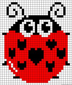 Ladybug pattern - Crochet / knit / stitch charts and graphs