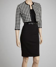 Take a look at this Black & White Houndstooth Dress & Jacket - Petite by Jessica Howard on #zulily today!