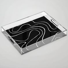 Ebb and Flow 2 - Black on White Acrylic Tray by laec | Society6 White Acrylics, Color Pop, Flow, Tray, Store, Black, Colour Pop, Black People, Storage
