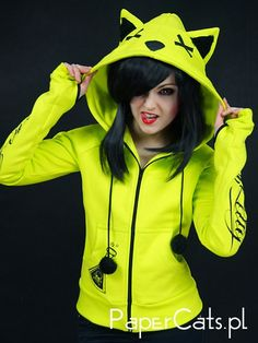 Neon cat hoodie ears poison toxic kawaii cyber goth by PaperCatsPL Kawaii Fashion, Punk Fashion, Love Fashion, Sweater Weather, Emo Outfits, Fashion Outfits, Scene Outfits, Neon Cat, Mode Sombre
