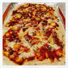 Leftover duck pizza.