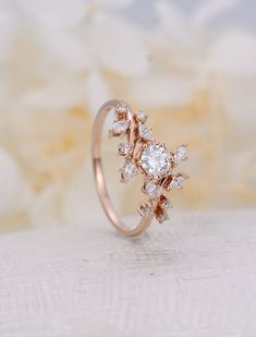 Moissanite engagement ring Diamond Cluster unique rings solid rose gold rings delicate gold ring leaf wedding women promise anniversary for your - Rose gold engagement ring Diamond Cluster ring Unique Diamond Cluster Engagement Ring, Dream Engagement Rings, Vintage Engagement Rings, Delicate Engagement Ring, Leaf Engagement Ring, Cluster Diamond Rings, Solitaire Diamond, Morganite Engagement, Delicate Rings