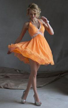 Beaded Halter Neon Orange Neck Baby Doll Dress - $162.00 : Buy Designer 2014 Dresses For Prom,Homecoming Dresses Online