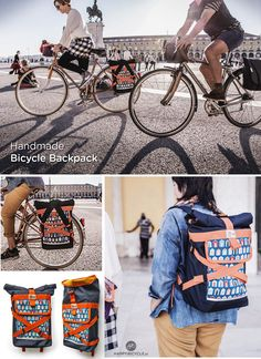 Nice #Backpack with rolling opening for easy access to its interior that can also be used as a #Pannier on your #Bicycle | Photo by Carla Guedes Pinto | by www.HappyBicycle.pt