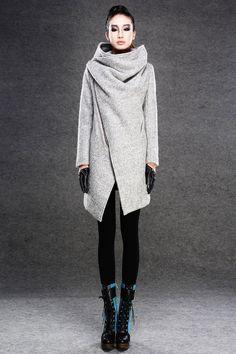 Gray coats jackets, winter coats for women. via Etsy.