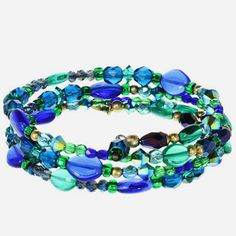 Michal Golan memory wire bracelet with blue and green Swarovski crystals