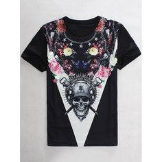 Round Neck 3D Flower Skull Print Slimming Short Sleeve Men's Graphic T-Shirt #CLICK! #clothing, #shoes, #jewelry, #women, #men, #hats