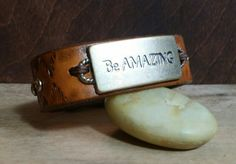 Be Amazing Bracelet Leather Cuff Brown Rhinestone by LeatherVision