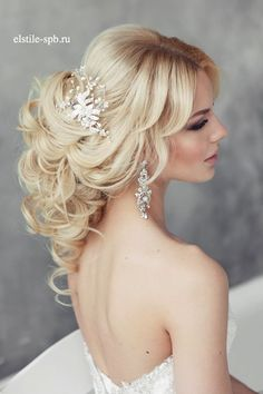 long wavy wedding hairstyle with headpiece