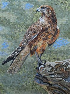 Mosaic Art - England's Golden Eagle for sale online Mosaic Artwork, Mosaic Wall Art, Mosaic Diy, Tile Art, Mosaic Glass, Glass Art, Marble Mosaic, Wine Glass, Butterfly Mosaic