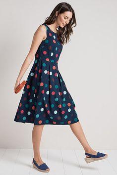 Merthen Dress, A Long Summer Cotton Pleated Dress - Seasalt