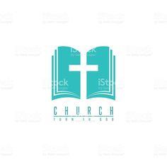 Church logo, cross and abstract bible religion symbol, faith icon royalty-free stock vector art