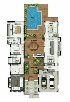 Dream house plans: Farmhouse home plans layout garage Ideas for 2019 2020 Pool House Plans, Sims House Plans, Courtyard House Plans, Dream House Plans, Modern House Plans, Modern House Design, Dog Trot House Plans, Passive House Design, Atrium House