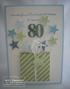 birthday card, stars on wires coming out of a package