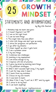 A list of 25 growth mindset statements and affirmations for kids and adults. #ad