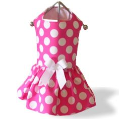 XS Dog Clothes Custom Dress Jumbo Dots Pink Handmade   eBay