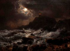 "Painting of the Day!  Andreas Achenbach (1815-1910) ""Norwegian Coast by Moonlight"", Oil on canvas, 1848. - To see more works by this artist please visit us at: http://www.artrenewal.org/pages/artist.php?artistid=1798"