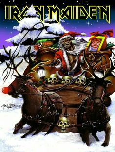 my entry for the Iron Maiden Xmas card contest (old stuff! Heavy Metal Bands, Heavy Metal Rock, Hard Rock, Woodstock, Heavy Metal Christmas, Metallica, Iron Maiden Posters, Eddie The Head, Horror