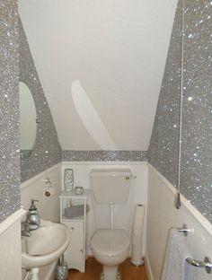 Gunmetal Grey Glitter Wallpaper Featured On A Chimney