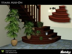 This set contains 7 rounds stairs, they match EA stairs but are not walkable.They do have a lot of slots to clutter you staircase. You need to use moveobjects on to place the rounds stairs to the...