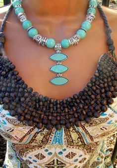 Turquoise Silver Statement Necklace