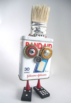 Recycled Robots made from found materials