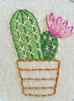 DIY Embroidery Projects and Crafts On the lookout for some artistic DIY embroidery designs and initiatives? Are you swept away each time you see a cool embroidery concept? Embroidery Designs, Cactus Embroidery, Hand Embroidery Stitches, Embroidery Hoop Art, Vintage Embroidery, Ribbon Embroidery, Cross Stitch Embroidery, Machine Embroidery, Embroidered Cactus