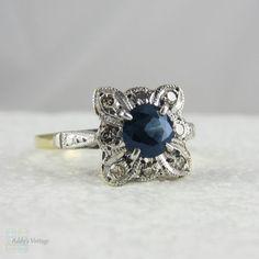 Vintage Sapphire & Diamond Ring. Dark Blue Round Sapphire by Addy, £395.00