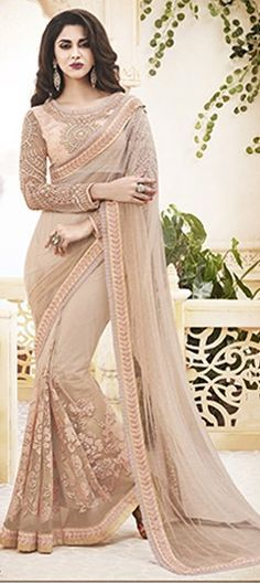 181048 Pink and Majenta color family Embroidered Sarees, Party Wear Sarees in Chiffon, Net fabric with Lace, Machine Embroidery work with matching unstitched blouse.