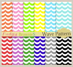 Digital paper pack 7.5x11,Summer Wave, scrapbooking , No.32, yellow, green , pink , blue,  Instant download via Etsy