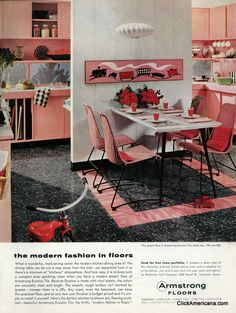 Armstrong Linoleum floors... a wonderful vintage pink kitchen...