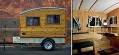 Der handgefertigte Anhänger aus Holz bietet Platz für das nötigste – und wird so zu einem winzigen Zuhause auf Rädern für Minimalisten.