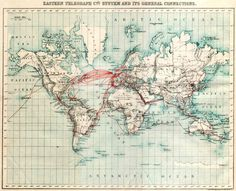 Eastern Telegraph Company 1899 chart of undersea telegraph cabling. An example of modern globalizing technology in the beginning of the 20th century.