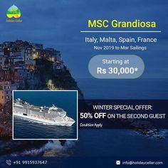 Winter special offer: This winter, Get out of your comfort zone and book that cruise you have always wanted. Book your Cruise with #holidaycellar and enjoy 50% OFF on the second guest on MSC Cruises. Call or WhatsApp for itinerary:- 99159 37647 E-mail- info@holidaycellar.com  #MSCcruisesline #msccruises #MSC #CruiseLife #mscbellissima #mscgrandiosa #mscseaside #mscseaview #Crusing #Wintercruise #Winterspecialoffer #MSCCruises #cruise #cruisetravel #cruisepackages #luxurycruise