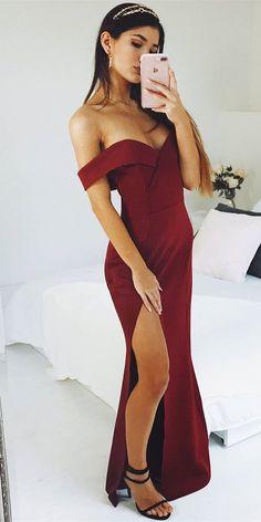 elegant off the shoulder burgundy long prom dress with slit, 2018 prom dress, burgundy long prom dress, off the shoulder prom dress formal evening dress