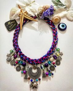 May this purple-toned design that I have prepared for Mrs. Arzu lady bring her luck and blessings Diy Jewelry Necklace, Jewelry Art, Beaded Jewelry, Jewelery, Jewelry Design, Beaded Necklaces, Hippie Accessories, Bracelet Crafts, Fabric Jewelry