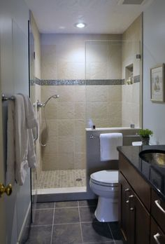Small Bathrooms Design, Pictures, Remodel, Decor And Ideas   Love The Solid  Half Wall Between The Shower And Toilet. Iu0027d Add A Door To The Shower  Though.