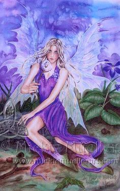 violet fairy images | mickie mueller Violet Fairy fairy watercolor original art painting ...