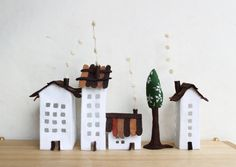 White buildings of felt with a tree. Miniature city. by Intres, $35.00