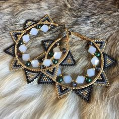 Nicole Miller New York Green Beaded Tassel Drop Leopard Print Triangle Dangle Earrings – Fine Jewelry & Collectibles Beaded Earrings Patterns, Beaded Tassel Earrings, Seed Bead Earrings, Diy Earrings, Beaded Jewelry, Handmade Jewelry, Beadwork Designs, Bracelet Crafts, How To Make Beads