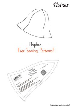 This is the pattern of a Flophat. Hat Patterns To Sew, Sewing Patterns Free, Clothing Patterns, Fabric Crafts, Sewing Crafts, Sewing Projects, Sewing Clothes, Diy Clothes, Sewing Hacks