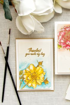 Hero Arts | 4-Bar Watercolor Floral Cards using – Artistic Dahlia and Antique Rose Stem woodblock stamps and Daniel Smith Watercolors.